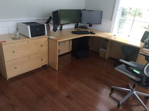 Office desk and two filing cabinets for Sale in Watertown, MA