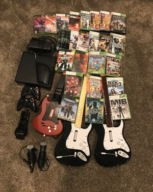 Xbox 360 Sale: console, 2 controllers, guitars, microphones, and games for Sale in Fountain Valley, CA