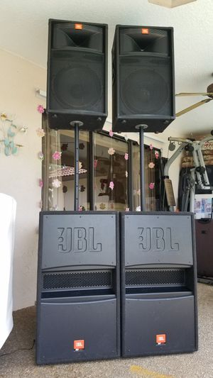 JBL Pro Audio Speakers & QSC Amplifiers, Mixer case and Carvin Horns for Sale in Pompano Beach, FL