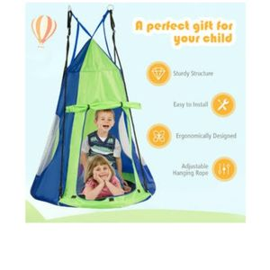 "40"" Kids Hanging Chair Swing Tent Set Hammock Nest Pod Seat Green for Sale in La Habra, CA"