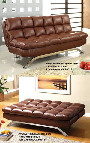We Finance 😁 Visit Our Showroom - Saddle Brown Pillow Top Couch Sofa Futon Bed Sofa Bed for Sale in Los Angeles, CA