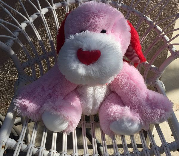 Goffa pink and white plush dog