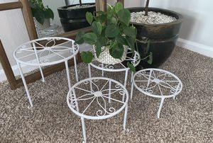 Set of 4 White Plant Stands for Sale in Virginia Beach, VA