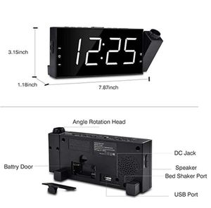 """OnLyee Projection Ceiling Wall Clock with Bed Shaker, 7"""" LED Digital Desk/Shelf Clock with Dimmer, USB Charging, AC Powered and Battery Backup for Be for Sale in Spokane, WA"""