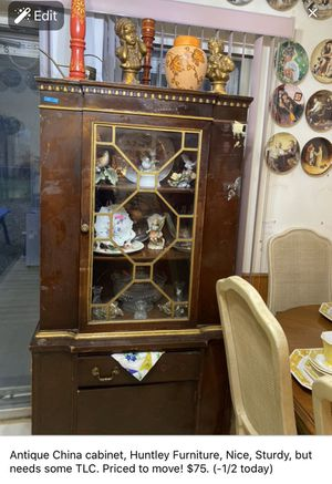 Antique China cabinet w/glass front, #huntleyfurniture for Sale in Duncanville, TX