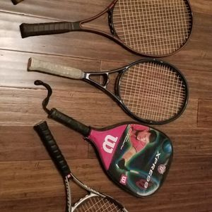 Vintage Tennis Rackets Early Graphite Models Prince & Wilson All 5 are Included In This Sale for Sale in Riverside, CA
