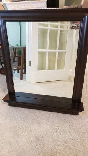 Potter barn Large espresso mirror with shelf ledge for Sale in Huntersville, NC