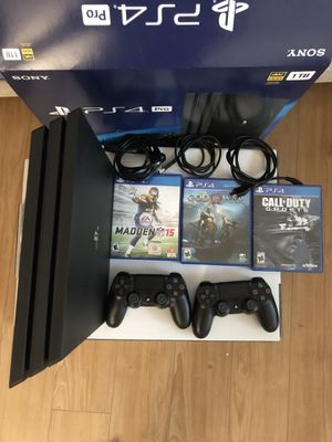 Sony PlayStation 4 Pro + 2 Dual Shock 4's + 3 Games for Sale in Santa Clara, CA