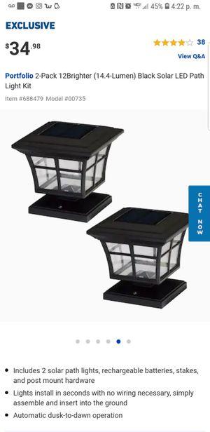 Portfolio 2 pack black solar path light kit for Sale in Downey, CA