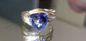 Stunning 10K yellow gold trillion cut blue cz and cz ring size 7 for Sale in Lake Stevens, WA