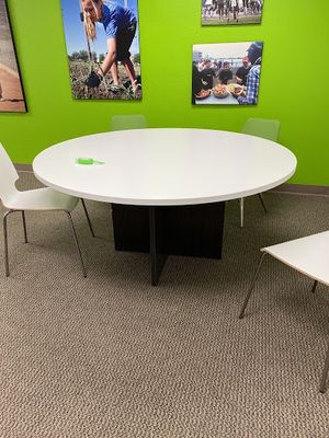 Large round table- White top, gray base- 6ft round, 29 in high for Sale in Tustin, CA