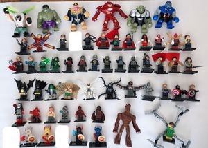 54 Marvel DC comic movie superhero minifigures sold individually or bulk for Sale in Casco, ME