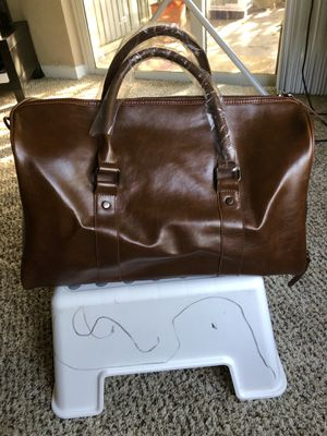 Duffle Gym Travel Duffel Leather Sports Overnight Weekender Brown Bag (Brown) - New and Never used for Sale in Boca Raton, FL