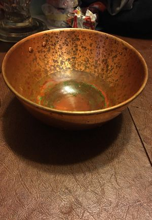 Solid Copper Chef Cookware Egg White Whisking Bowl including a sifter and vintage enamelware tureen for Sale in Los Angeles, CA