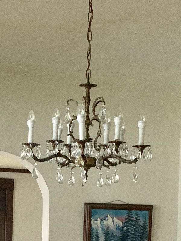 Antique Chandelier - bronze and crystal