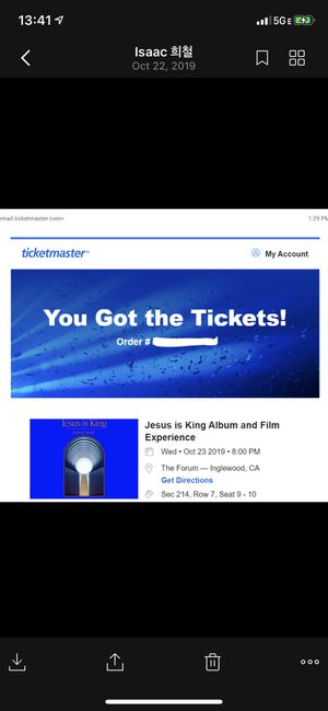 Kanye West Jesus is King Film & Album Experience Tickets for Sale in Rockville, MD