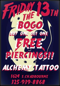 FRI THE 13TH BOGO PIERCING SPECIAL! for Sale in San Angelo,  TX