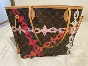 Louis Vuitton Neverfull Mm Ca 1146 Poppy Pink and White Monogram Canvas Tote for Sale in West University Place, TX