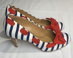 Gianni Bini Women's Red White & Blue Round Toe Leather Sole Heels for Sale in Vancouver, WA
