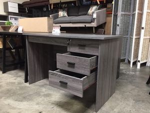 Desk with Locked Drawer , Distressed Grey for Sale in Pico Rivera, CA