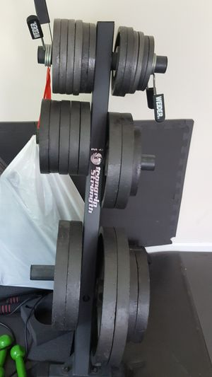 Weight plates + Curl Bar + Barbell for Sale in Alpharetta, GA