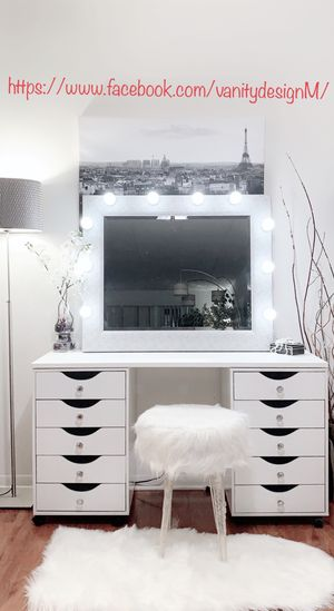 New Beautiful vanity desk 10 drawers &Professional Hollywood light mirror available delivery for Sale in Des Plaines, IL