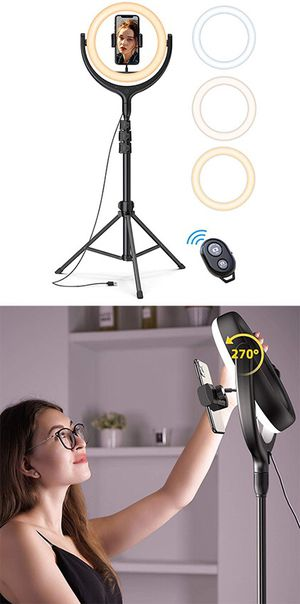 "(NEW) $45 LED 10"" Selfie Ring Light w/ 67"" Tripod Stand & Phone Holder for Makeup/Video/Photo for Sale in South El Monte, CA"