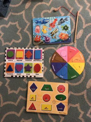 4 Puzzle Lot Melissa & Doug Wood, Sound Puzzle, shapes, colors and fishing 🎣 game $20 for all for Sale in Leander, TX