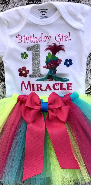 Trolls Poppy 1st Birthday Outfit: Personalized Glitter Onesie & Tutu for Sale in Long Beach, CA