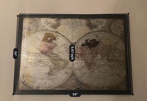 Map of the World in frame for Sale in Lakeland, FL