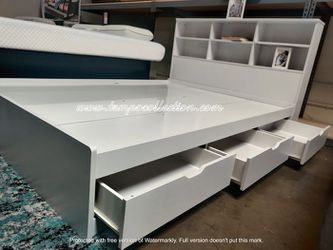 Full Size Storage Bed Frame with Bookcase Headboard, White for Sale in Westminster,  CA