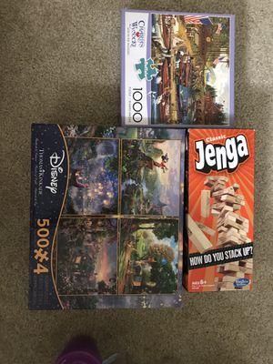 Disney 500x4 puzzle game , 1000 puzzle game, jenga mini for Sale in Herndon, VA