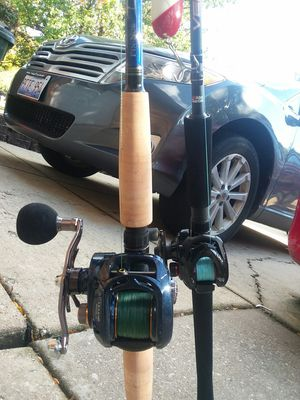 Caenan Reel with Vendetta Rod and Daiwa Lexa Reel with Tidal Rod for Sale in Glen Ellyn, IL