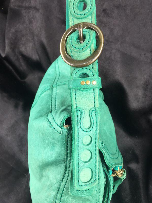 Lucky Brand Green Lamb Leather Stash Hobo Foldover Shoulder Bag, NWOT (slight damage)