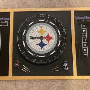Steelers Dartboard With Chalk Board Scoring for Sale in Plainfield, IL