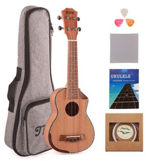 Soprano Ukulele Mahogany 21 Inch Small Hawaiian Guitar with Carbon Strings Protective Bag and Beginner's Manual for Children Adults for Sale in Philadelphia, PA