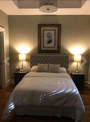 Brand new charcoal bed with mattresses and box springs QUEEN SIZE AND ADJUSTABLE TO FULL SIZE 300 for Sale in Hollywood, FL