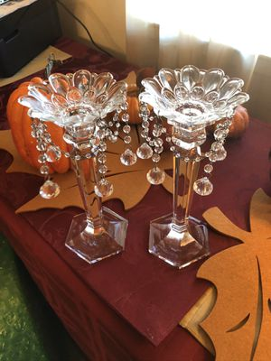 Lovely candle abra pair with removable chandelier style top for Sale in Hayward, CA