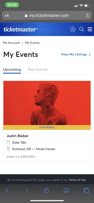 2 Justin Bieber tickets CHANGES TOUR for Sale in Salem, OR