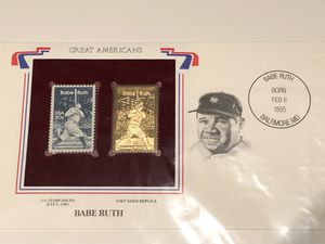 Used, MLB Baseball Great Americans BABE RUTH 1983 stamps card with 22k Gold Stamp !!!! for Sale for sale  Plainfield, IL
