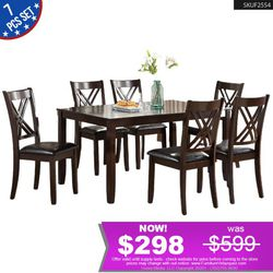 **WOW** 7Pcs Dining Set 1 Table + 6 Chairs F2554 for Sale in Inglewood,  CA