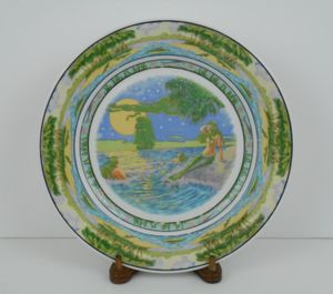 "Original 1925 Antique Vinoy Hotel 10.2"" Heavy China Mermaids Dinner Plate for Sale in St. Petersburg, FL"