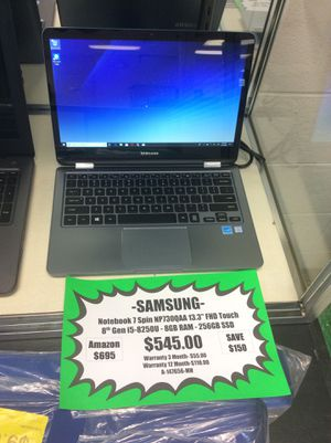 """Samsung Notebook 7 Spin 13.3"""", FHD TouchScreen, 8th Gen. i5-8250U, 8GB RAM, 256GB SSD for Sale in Melrose, TN"""