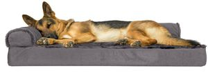 FurHaven Pet Dog Bed | Deluxe Orthopedic Plush & Velvet L-Shaped Chaise Couch Pet Bed for Dogs & Cats, Platinum Gray, Jumbo for Sale in Torrance, CA