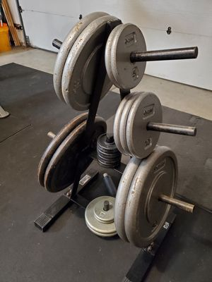 Weights 215lbs (standard) + barbell and squat rack / bench press $ $260 for Sale in Hillsboro, OR