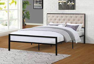 Full Metal Bed Frame, Beige for Sale in Santa Fe Springs, CA
