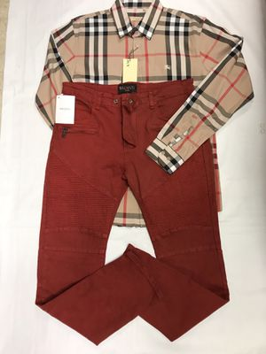 Burberry L/S Button Down w/Red Balmain Jeans. (Inbox me for size) for Sale in Marrero, LA