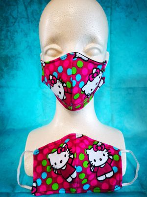 Kids Face mask (Hello Kitty various polka dots): Hand made mask, reversible, reusable, washer and dryer safe. for Sale in Signal Hill, CA