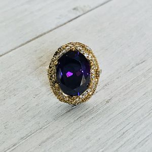 Amethyst & Cz Brass And Silver Ring S7.5 for Sale in Castle Rock, CO