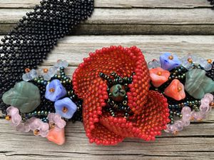 Women's Handmade Beaded Choker Necklace with Poppy for Sale in Gaithersburg, MD
